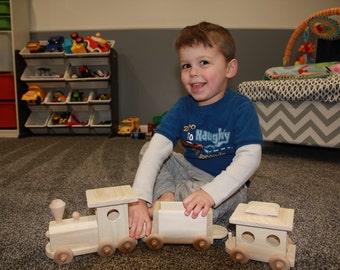 Handmade wooden train.