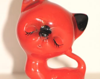Vintage glazed ceramic cat from the 70s