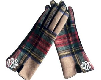 Designer-Look Touchscreen Gloves - CAMEL PLAID