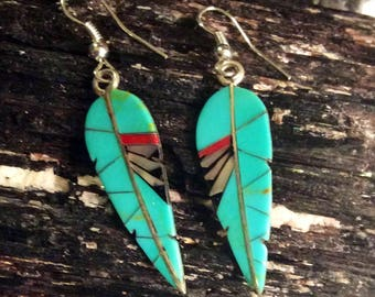 Native American Jewelry Sterling Silver Turquoise Inlaid Feather Shaped Dangle Earrings Red Coral and Mother of Pearl