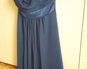 Chiffon sleeveless dress, blue ink