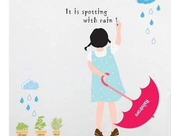 rain girl decals/cloud umbrella decals stickers/raining day wall decor/rain drop decal/cactus pot decals/plant mural sticker/rain girl decal