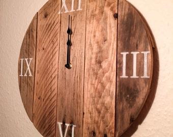 Rustic reclaimed wood clock/pallet wood clock/free UK postage