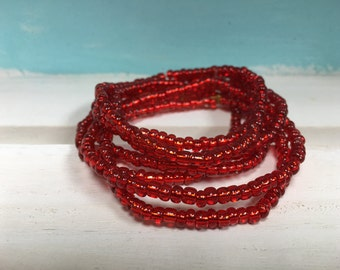 Red Seed Bead Bracelet