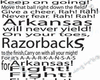 Arkansas Fight Song Digital Cut File