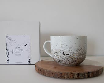 Coffee Mug, Latte Mug, Hand Painted, Ceramic, Mug for her, Paint Splatter, Minimal, Big Mug, 14 oz