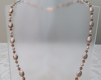 Pale grey/copper glass, swarovski pearl and crystal necklace