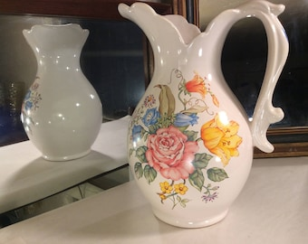 Bright Haeger Floral Pitcher