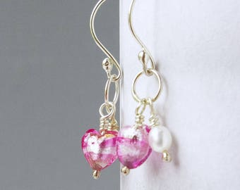 Sterling Silver and Freshwater Pearl Drop Earrings Featuring Raspberry Pink Genuine Murano Hearts