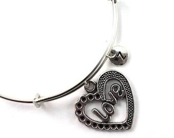 HEART bangle, silver tone heart love bracelet, heart charm, initial bracelet, adjustable bangle, personalized jewelry, swarovski birthstone