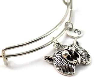 WILDCAT bracelet, silver wildcat bangle, wildcat charm, initial bracelet, adjustable bangle, personalized jewelry, swarovski birthstone