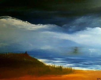 "Seascape oil painting print 8.5""x11"" -Letting Go-"