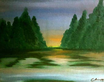 "Oil painting print 8""x10"" landscape -Coming Home- *frame not included*"