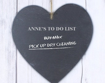 Personalised Large Heart Slate Chalk Board - To Do List, Mum, Dad, Home Gift, Shopping list, Reminder, Kitchen, New Home, Personalised Gift