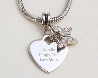 Personalised Womens Butterfly Charm Necklace Birthdays, Weddings, Anniversary