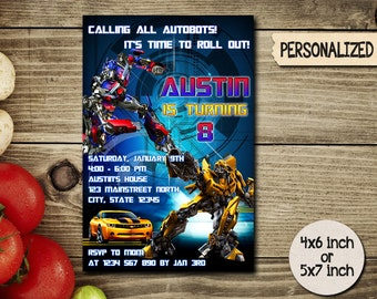 Transformers Invitation / Transformer Birthday Invitation / Transformer Party Invite / Optimus Prime and Bumble Bee / Robot / Autobots