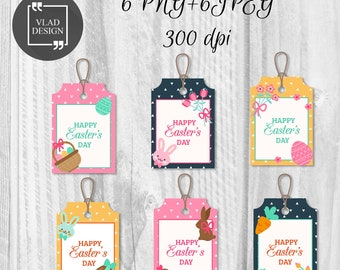 Easter gift tag etsy 6 printable easter tags easter gift tags easter labels instant download diy easter eggs tags holiday negle