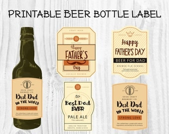 4 Designs Father's Day Beer Bottle Label, Father's Day Party Beer Bottle Sticker, Gift for Dad, Beer for Dad, Bottle wrapper