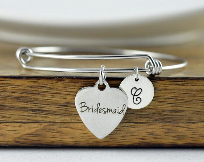 Bridesmaid Bracelet, Bridesmaid Gift, Bridesmaid Jewelry, Bridesmaid Set, Bridesmaid Bracelet Set, Personalized Bangle, Charm Bracelet