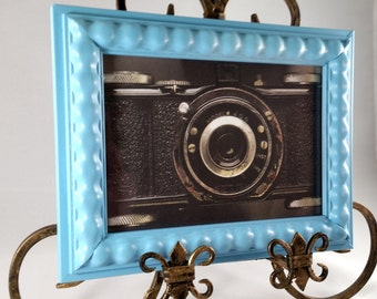 Sky Blue 5x7 Picture Frame; small picture frame; light blue frame; wall decor; unique frame
