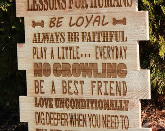 Lessons For Humans Dog Sign