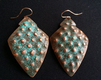 Hammered Sheild Earrings with Stippled Texture - S0001
