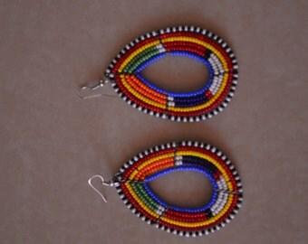 African Maasai Beaded Earrings | Ethnic Earrings | Multi Color Earrings |Tear Drop Earrings | Elegant | Unique | Dangle Drop | Gift  For Her