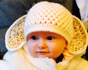 Crochet hat, bunny hat, baby girl hat, hat with  bunny ears. Free shipping in UK!!!