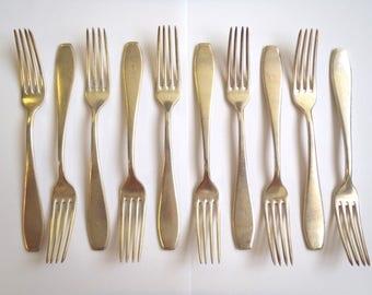 10 x Large Fork - British Army Metal Vintage - Serving & Dining - Retro/Historical/Antique - E226