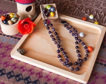 Violet Jade Beaded Necklace