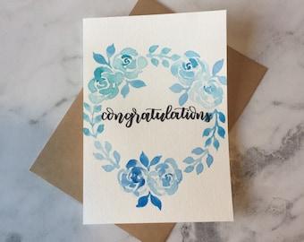 Congratulations - Watercolour Ombre Wreath Card - Blue
