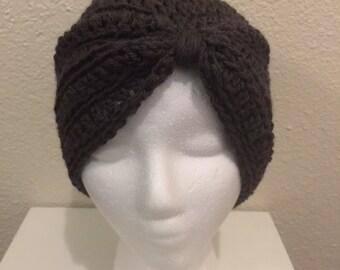 Crochet hat; Crochet Turban hat; Lady's hat; Gray Hat; Misses; Teen; Vintage hat; Vintage Style Turban Hat