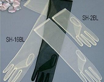 "22""Vintage Sheer Candlelight Occasion Gloves 16BL Ivory/Black/White"