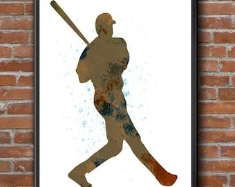Baseball Player 01, Baseball Art, Baseball Decor, Nursery Wall Decor, Childs Room Decor, Sports Art, Watercolor Art, Sports Art Print