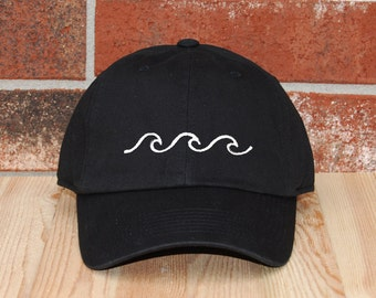 Wave Baseball Cap, Wave Black Baseball Cap, Unisex Baseball Cap, Embroidered Baseball Cap, Adjustable Wave Dad Cap