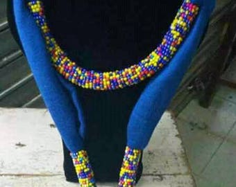 Beaded blue scarf, African maasai beads scarf, Handmade beaded scarfs, Kenya scarf, gift for her, Women scarf, maasai beads, masai jewelry