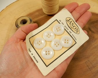 White Buttons, Jason, Made in England, Sewing Closure, Vintage Haberdashery, 17mm Button