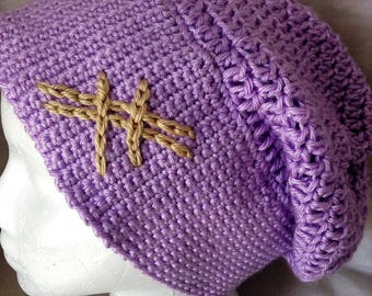 Purple Light Spring Adult Slouchy Crochet Hat #