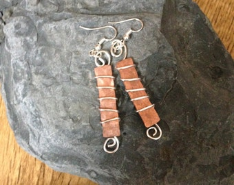 Mixed metal dangle earrings, hammered copper and silver, handmade jewelry gift for her