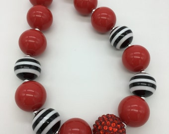 Girls Chunky Bubblegum Beaded Necklace, Red Black White Striped Chunky Necklace, Holiday, Photo Prop, Red Beaded Necklace