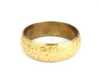 80s Vintage Gold Enamel and Brass Chunky Bangle Bracelet