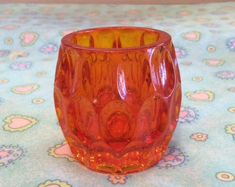 Vintage Fenton Orange Glass Toothpick Holder/Fenton Tea light Glass Holder, Fenton Thumbprint