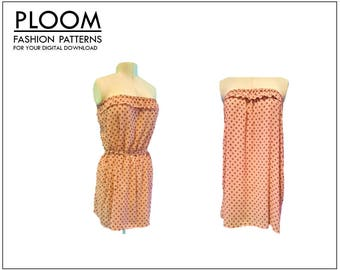 Toni Strapless Dress Pattern, PDF digital sewing patterm, womans dress, easy. By Ploom Patterns