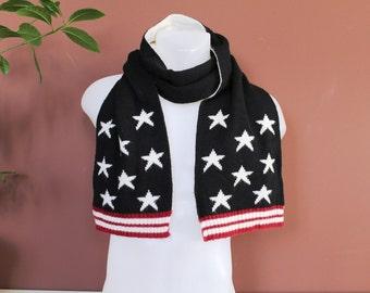 Vintage BENETTON Scarf, 90's Italian Shawl, Classic Designer Scarf, Italian Black Wrap, Stars and Stripes Designer Shawl, Dress Up Clothes