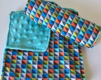 Burp Cloth Set, Baby Boy, Retro Blocks, Set of Two (2) Blue