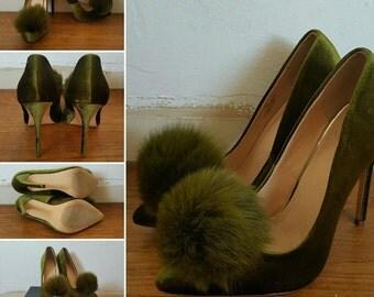 Velvet Pom Stilettos - Women's 8.5 Medium