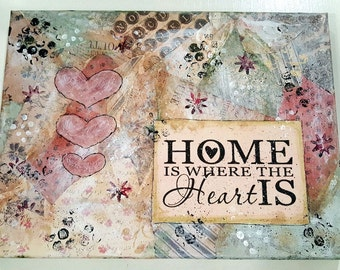 Home Is Where The Heart Is Mixed Media Canvas (MMC103)