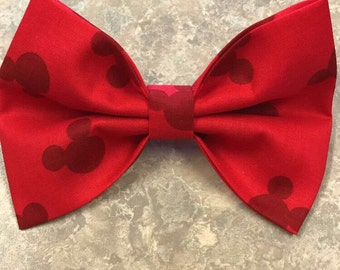 Mickey Bow - Disney Bow - Red Bow - Little Girl's bow - Fabric Bow - Minnie Mouse- Hair Bow - Mickey Mouse