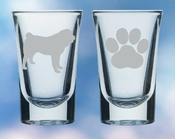 Set of 2 Bull Dog and paw shot glasses - gift - permanently etched