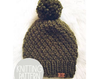 Knitted Textured Beanie Pattern/ Easy-Beginner Knitting Pattern/ Instant Digital Download